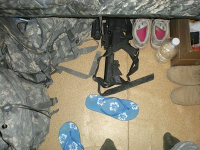 Living out of a ruck sack.  Kuwait on the way to Iraq.