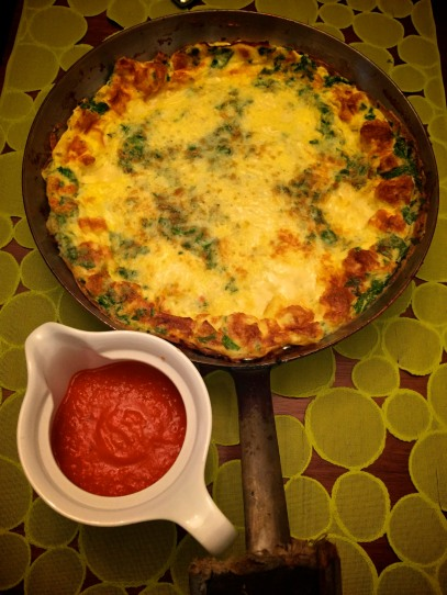 Frittata with Red Pepper Coulis