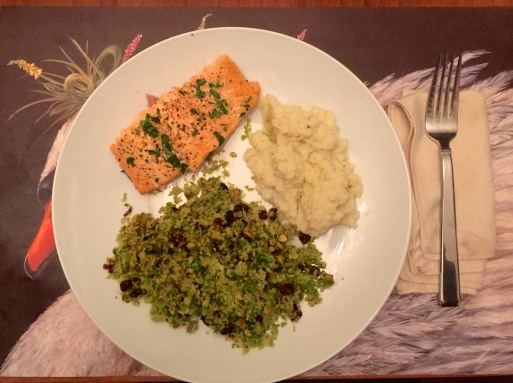 Baked Salmon, Cauliflower Mash, Brussel Sprouts with cranberry an pistachio