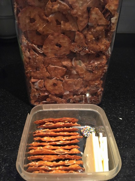 Picking out the full-size pretzels for my son's lunch because motherhood.